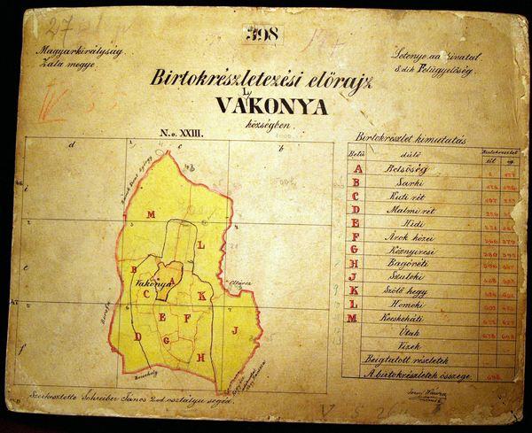 Térkép Valkonyáról 1852-ből